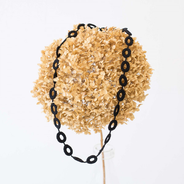 OVAL long necklace/silk