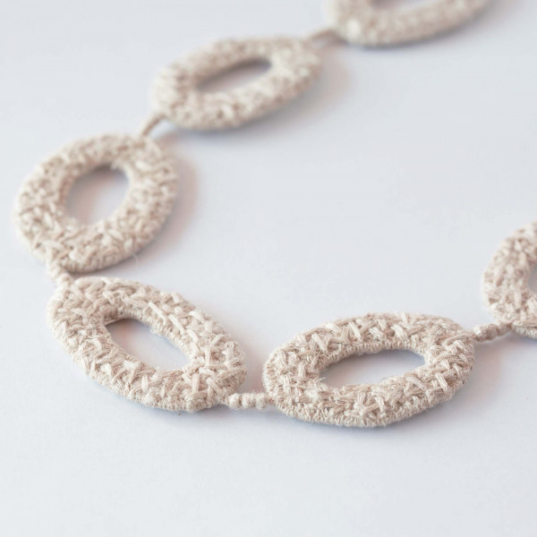 OVAL short necklace/silk&linen(natural)